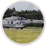 An Nh90 Helicopter Of The Italian Navy Round Beach Towel