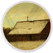 An Old Barn Just After An Early Spring Snow In Keene North Dakota  Round Beach Towel