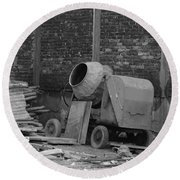 An Old Cement Mixer And Construction Material Round Beach Towel