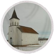 An Old Church In North Dakota Round Beach Towel by Jeff Swan
