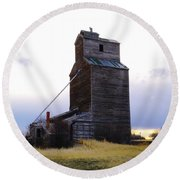 An Old Grain Elevator Round Beach Towel