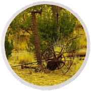 An Old Grass Cutter In Lincoln City New Mexico Round Beach Towel by Jeff Swan