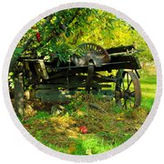 An Old Harvest Wagon Round Beach Towel
