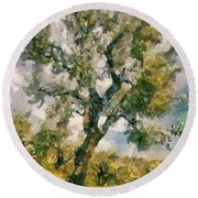 An Old Olive Grove Round Beach Towel