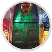 An Old Ornate Wooden Door In Paris France Round Beach Towel