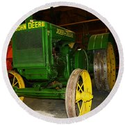 An Old Restored John Deere Round Beach Towel
