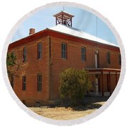 An Old School In White Oaks New Mexico Round Beach Towel