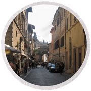 An Old Street In Assisi Italy  Round Beach Towel