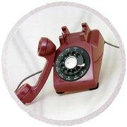 An Old Telephone Round Beach Towel