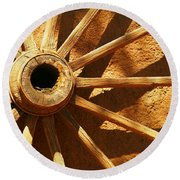 An Old Wagon Wheel In Carillos New Mexico Round Beach Towel