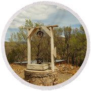 An Old Well In Lincoln City New Mexico Round Beach Towel