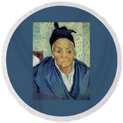 An Old Woman Of Arles Round Beach Towel
