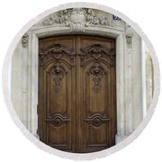 An Ornate Door On The Champs Elysees In Paris France   Round Beach Towel