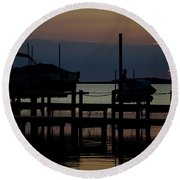 An Outer Anks Of North Carolina Sunset Round Beach Towel