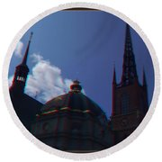 Anaglyph Church Round Beach Towel