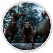 Anaglyph Wild Animals Round Beach Towel