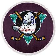 Anaheim Ducks Hockey Team Retro Logo Vintage Recycled California License Plate Art Round Beach Towel