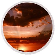 Anaheim Sunset Round Beach Towel