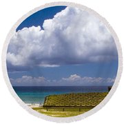 Anakena Beach With Ahu Nau Nau Moai Statues On Easter Island Round Beach Towel