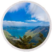 Anakoha Bay Of Marlborough Sounds In New Zealand Round Beach Towel