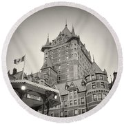 Analog Photography - Chateau Frontenac Quebec Round Beach Towel