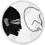 Anatomy: Human Cranium Round Beach Towel