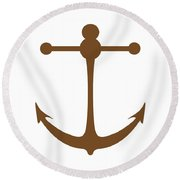 Anchor In Brown And White Round Beach Towel