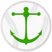 Anchor In Green And White Round Beach Towel