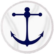 Anchor In Navy And White Round Beach Towel