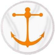 Anchor In Orange And White Round Beach Towel