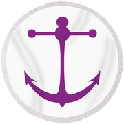 Anchor In Purple And White Round Beach Towel