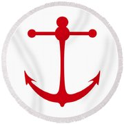 Anchor In Red And White Round Beach Towel