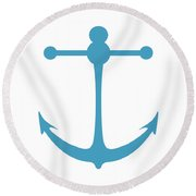 Anchor In Turquoise And White Round Beach Towel