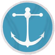 Anchor In White And Turquoise Blue Round Beach Towel