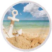 Anchor On The Beach Round Beach Towel