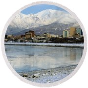 Anchorage Cityscape Round Beach Towel