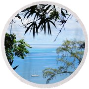 Anchorage In Paradise Round Beach Towel