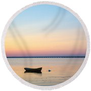 Anchored At Sunset Round Beach Towel