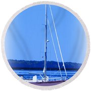 Anchored In The Bay Round Beach Towel