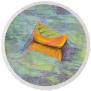 Anchored In The Shallows Round Beach Towel