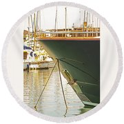 Anchored Yacht In Antibes Harbor Round Beach Towel