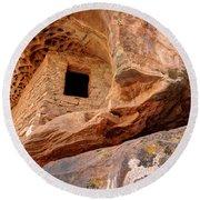 Ancient Anasazi Honeycomb Granary Ruin  Round Beach Towel
