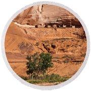 Ancient Anasazi Pueblo Canyon Dechelly Round Beach Towel