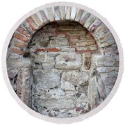 Ancient Bricked Up Window  Round Beach Towel