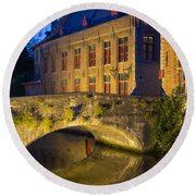 Ancient Bridge In Bruges  Round Beach Towel