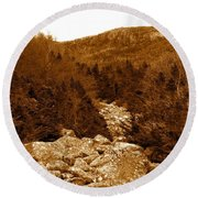 Ancient Brook - Sepia Tones Round Beach Towel