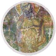 Ancient Christ Icon Round Beach Towel