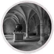 Ancient Cloisters. Round Beach Towel