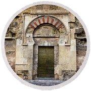 Ancient Door To The Mezquita In Cordoba Round Beach Towel