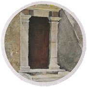 Ancient  Doorway  Round Beach Towel